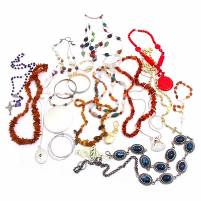 Selection of Jewelry Including Rosary, Bracelets and Necklaces