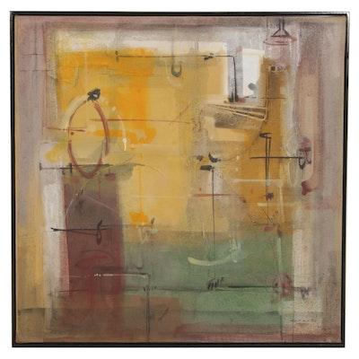 "Antonio Carreño Mixed Media Painting ""Afternoon Cycle"", 2002"