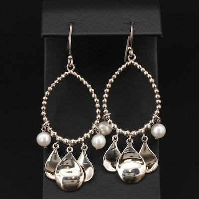 Michael Dawkins Sterling Silver Cultured Pearl Dangle Earrings