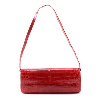Periwinkle by BDA (Brenda Axelrod) Red Alligator Embossed Leather Clutch