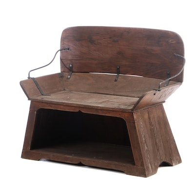 Vintage Poplar Buggie Seat, Early 20th Century