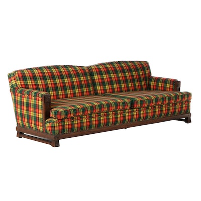Romweber Carved Oak Plaid Upholstered Sofa, Mid to Late 20th Century
