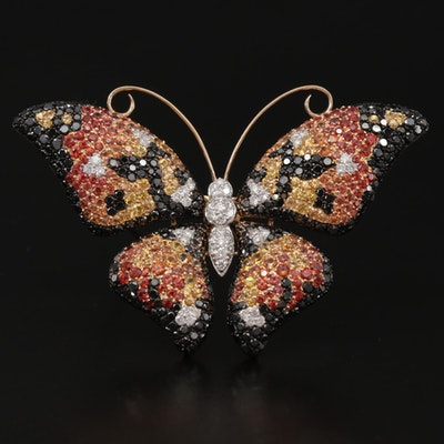 18K Gold 3.90 CTW Pavé Diamond and Fancy Sapphire Butterfly Brooch