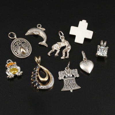 Sterling Silver Sapphire and Cubic Zirconia Charms and Pendants