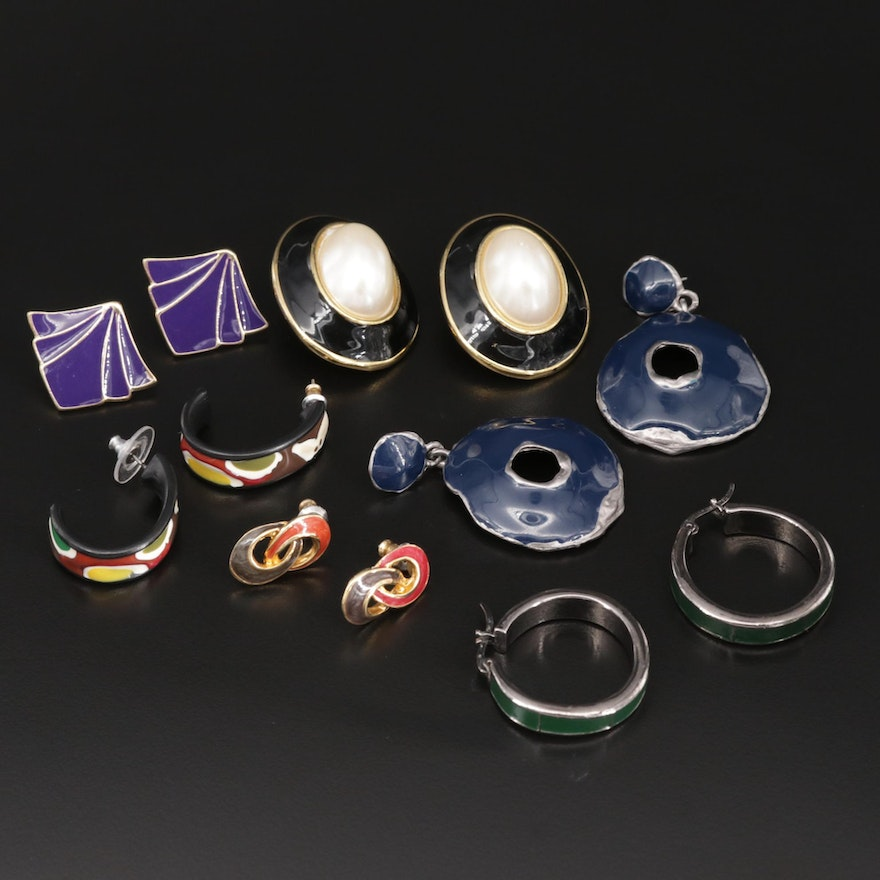 Assortment of Enamel and Imitation Pearl Earrings