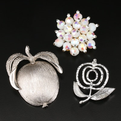 Glass and Plastic Brooch Selection Featuring Sarah Coventry