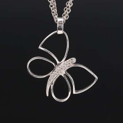 Fine Silver Diamond Butterfly Pendant on Cable Chain Necklace