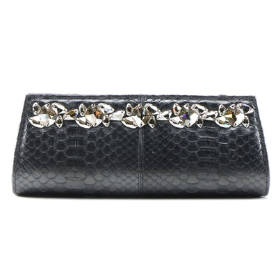 Ted Rossi NYC Embellished Python Clutch