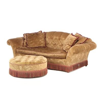 Velvet Damask Upholstered Sofa and Ottoman