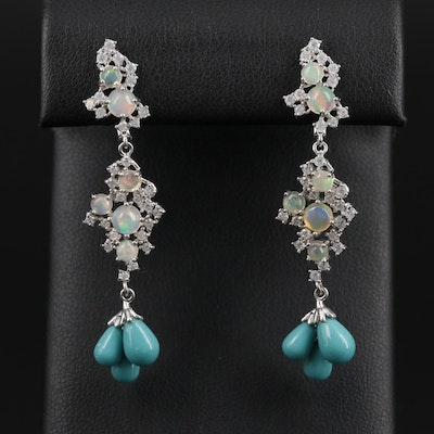 Sterling Silver Opal, Cubic Zirconia and Turquoise Dangle Earrings