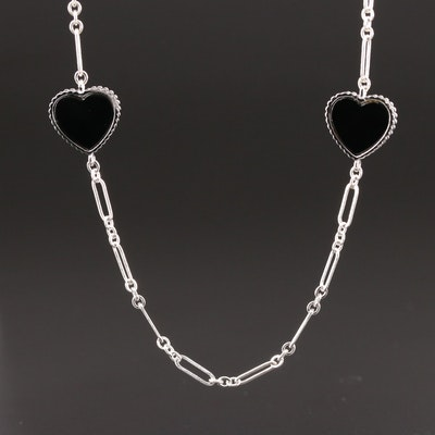 Sterling Silver Black Onyx Heart Station Necklace