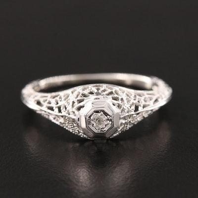 18K White Gold Diamond Open Work Ring