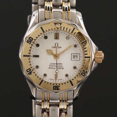 Omega Seamaster 300 Meters 18K Gold and Stainless Steel Quartz Wristwatch