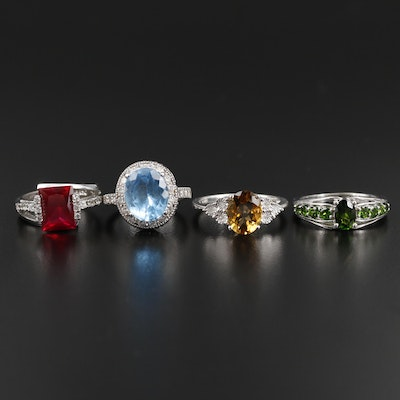 Sterling Silver Diamond, Citrine and Diopside Ring Selection