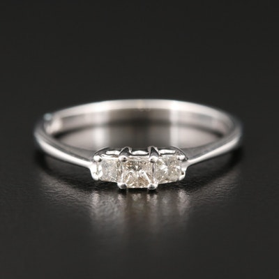 14K White Gold Diamond Three Stone Ring