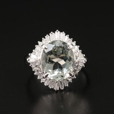 Platinum Aquamarine and Diamond Ballerina Ring