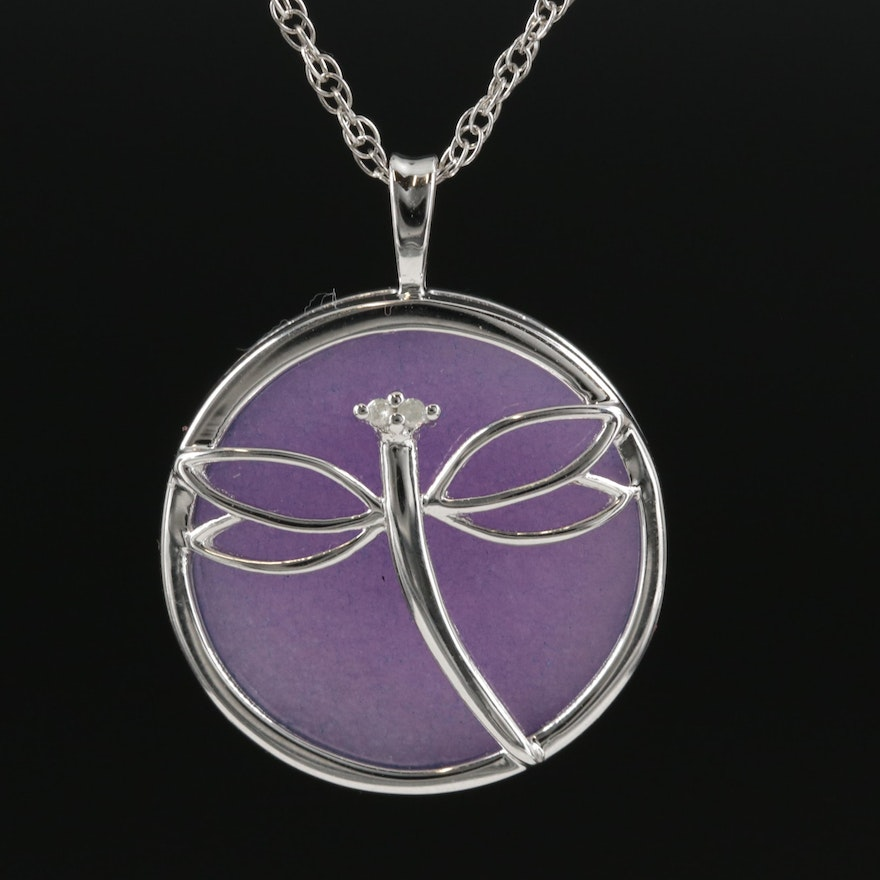 Sterling Silver Diamond and Quartz Dragonfly Pendant Necklace