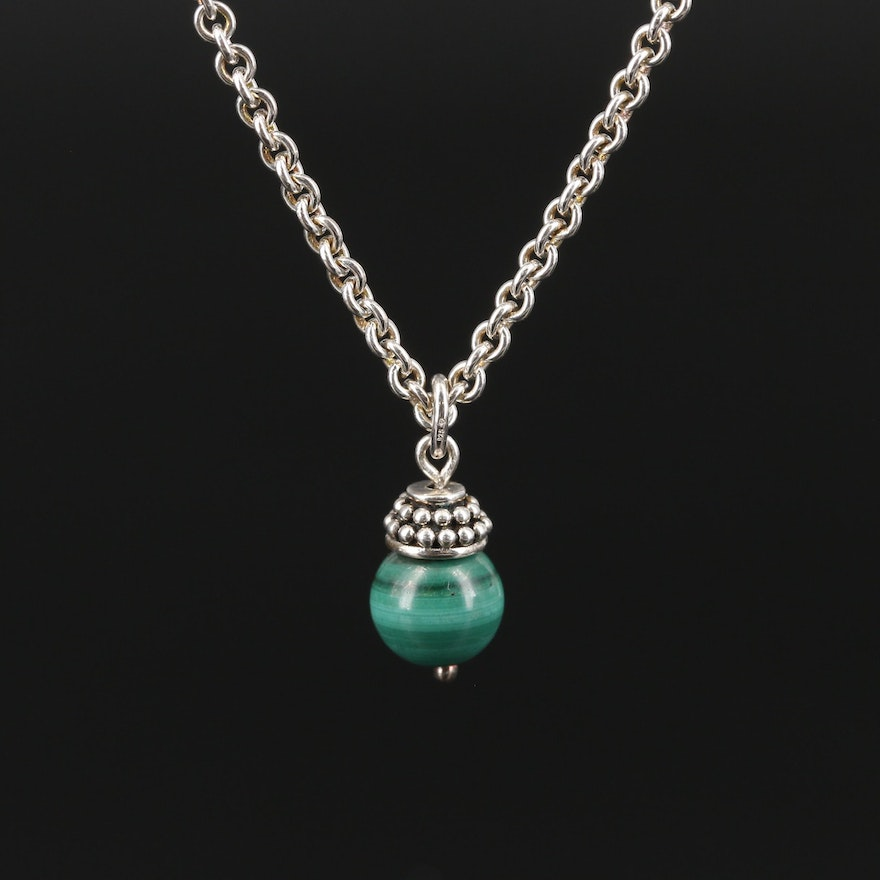 Sterling Silver Malachite Never Ending Chain Necklace