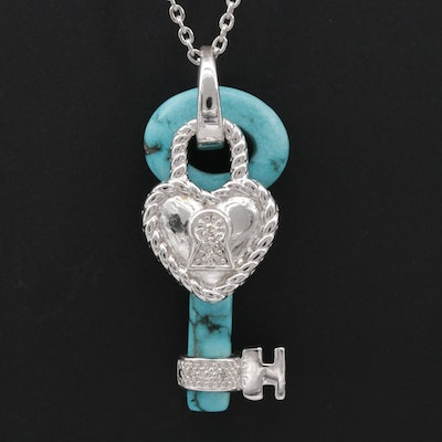 Sterling Silver Magnesite and Diamond Heart and Key Pendant Necklace