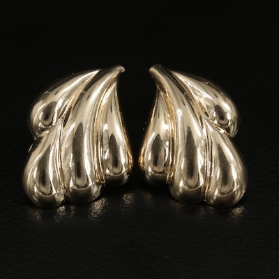 14K Yellow Gold Earrings Featuring Scalloped Design