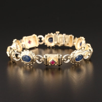 14K Yellow Gold Sapphire and Ruby Bracelet