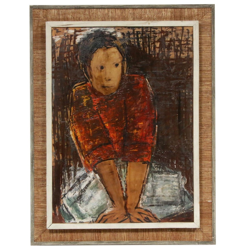 Oil Portrait Painting of Boy, Mid-20th Century