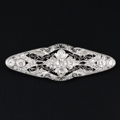 Edwardian Platinum 2.05 CTW Diamond Bar Brooch