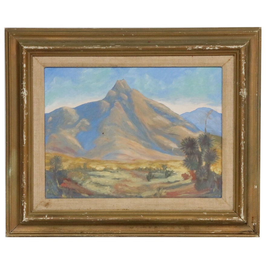 Southwestern Mountain Landscape Oil Painting, Mid-20th Century