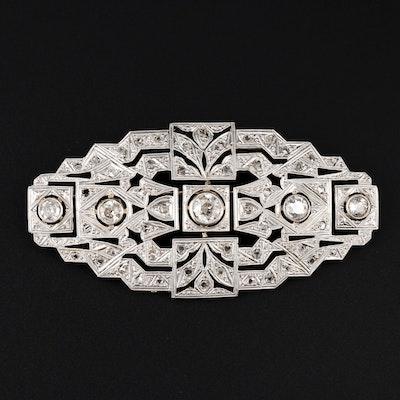 Art Deco 14K and Platinum 1.40 CTW Diamond Bar Brooch