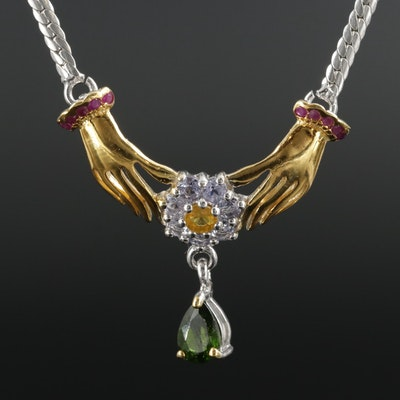 Sterling Silver Diopside, Sapphire and Tanzanite Necklace
