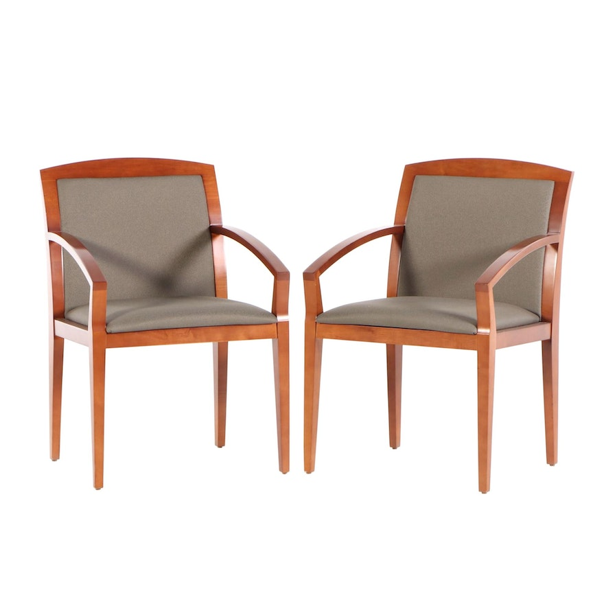Pair of Haworth Wood Seating Birch Arm Chairs, Late 20th Century
