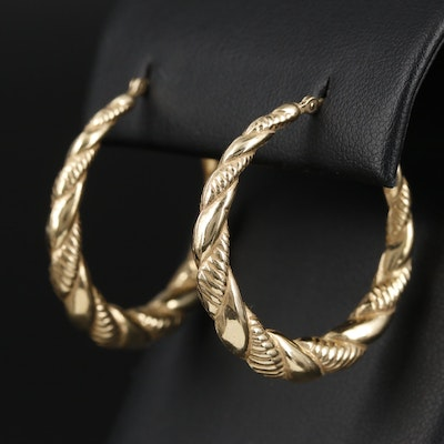 14K Yellow Gold Puff Twisted Hoop Earrings