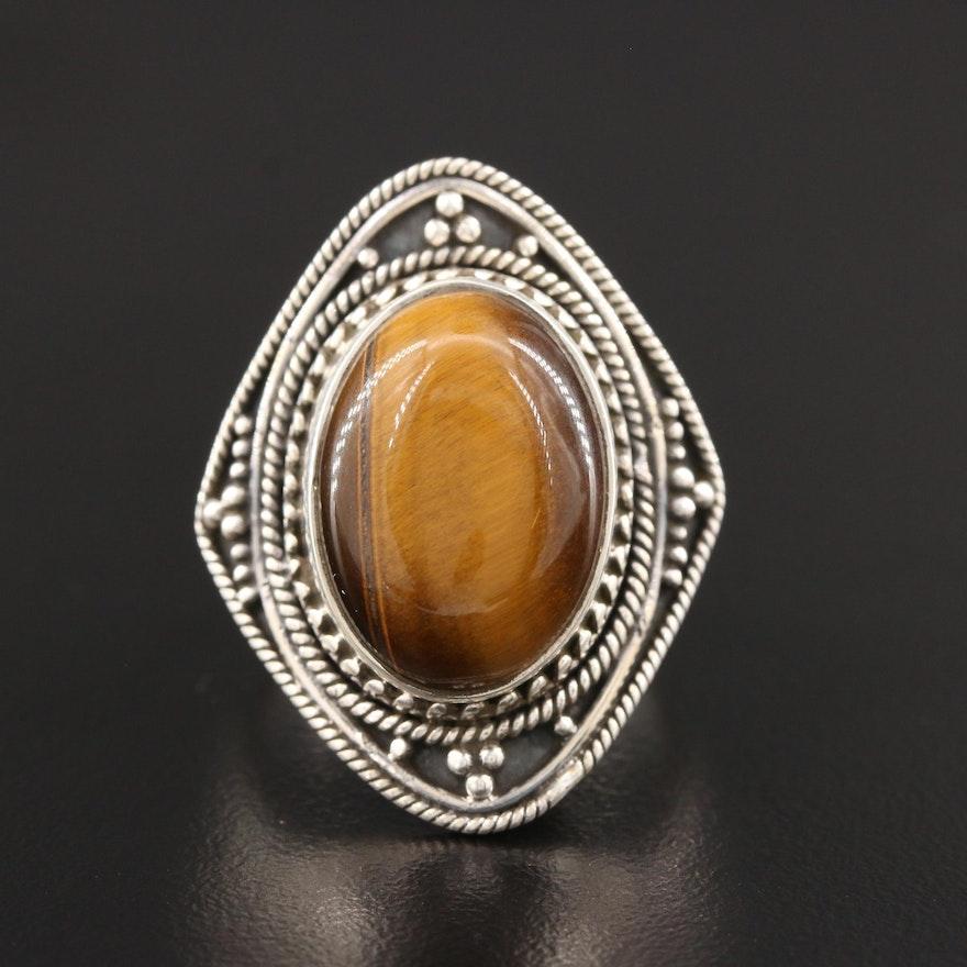 Sterling Silver Tiger's Eye Bali Style Ring