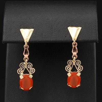 18K Yellow and Rose Gold Carnelian Dangle Earrings