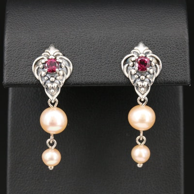 Sterling Silver Rhodolite Garnet and Pearl Earrings