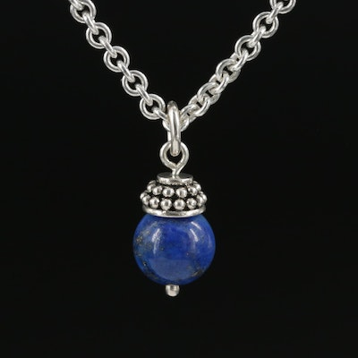 Sterling Silver Lapis Lazuli Pendant on Endless Cable Chain
