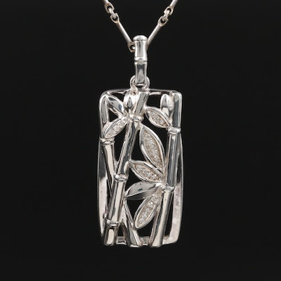 Fine Silver Diamond Pendant on Bar Link Necklace