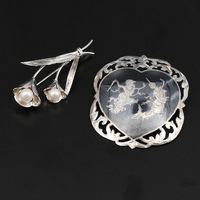 Sterling Cultured Pearl and Niello Enamel Floral and Thai Brooches