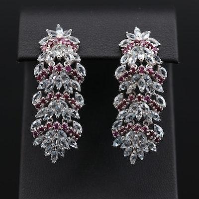 Sterling Silver Aquamarine and Rhodolite Garnet Drop Earrings
