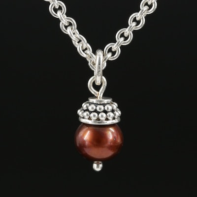 Sterling Silver Pearl Pendant on Endless Cable Chain