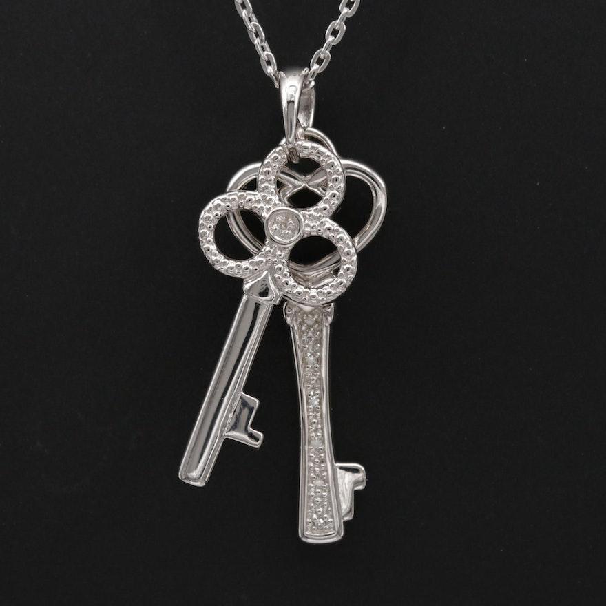 Sterling Silver Diamond Skeleton Keys Pendant Necklace