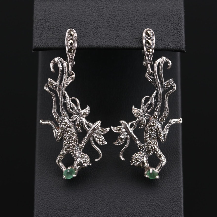Sterling Silver Emerald and Marcasite Monkey Dangle Earrings