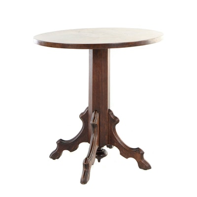 Victorian Walnut and Figured Walnut Pedestal Side Table, Late 19th Century