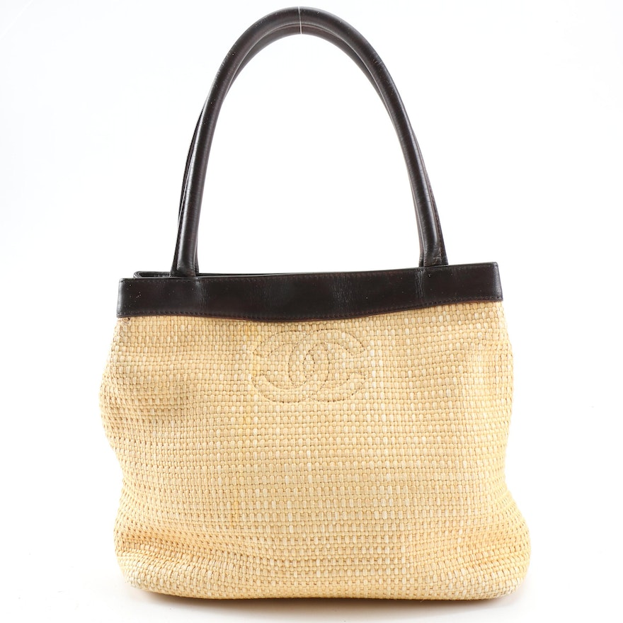 Chanel CC Woven Straw and Dark Brown Leather Tote