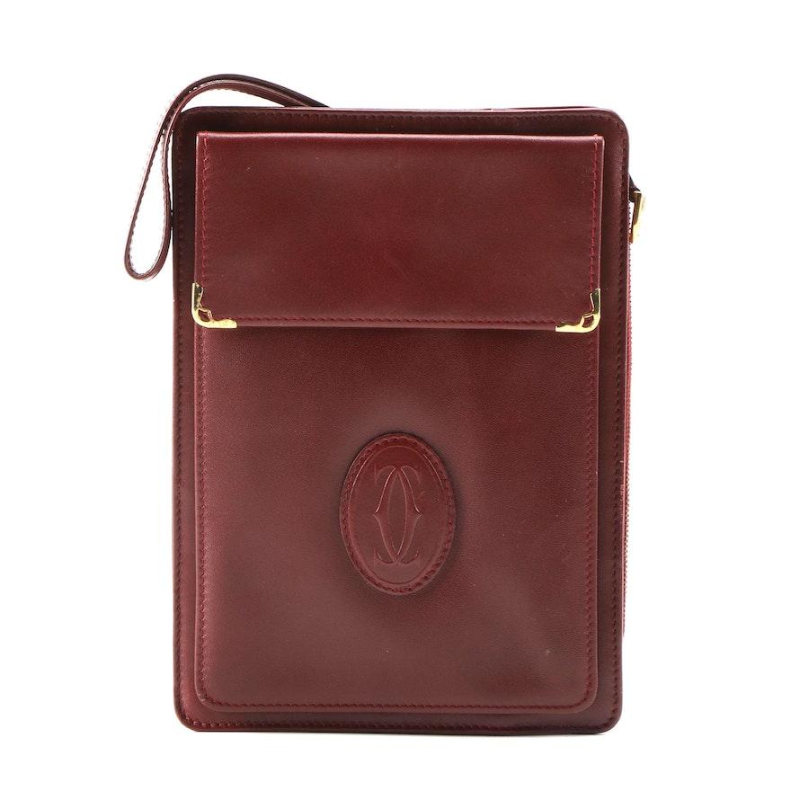 Must De Cartier Paris Wristlet in Bordeaux Leather