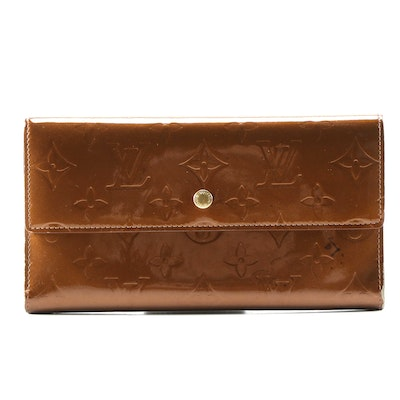 Louis Vuitton Porte-Trésor International Wallet in Bronze Vernis and Leather