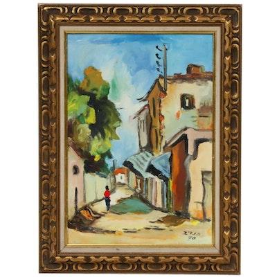 Village Street Scene Acrylic Painting, 1970