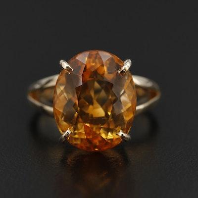 14K Yellow Gold 10.20 CT Citrine Ring