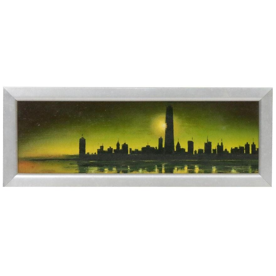 Vojislav V. Bumbasirevieh Oil Painting of Chicago Skyline, 1970