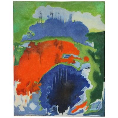 A. K. Raina Abstract Acrylic Painting, 1991